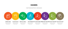 8 Colorful Hands Outline Icons...