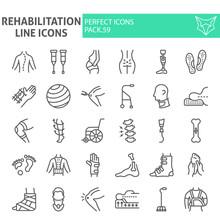 Rehabilitation Line Icon Set, ...
