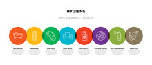 8 Colorful Hygiene Outline Icons Set Such As Ablution, Air Freshener, Antibacterial, Antiseptic, Baby Wipe, Bacteria, Bandage, Bathroom