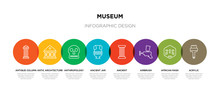 8 Colorful Museum Outline Icons Set Such As Acrylic, African Mask, Airbrush, Ancient, Ancient Jar, Anthropology, Antic Architecture, Antique Column