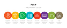 8 Colorful Music Outline Icons...