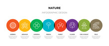 8 Colorful Nature Outline Icon...