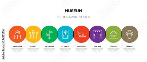 Obraz na plátně 8 colorful museum outline icons set such as ceramic, closed, curtain, dinosaur,
