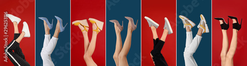 Fotomural  Collage of women wearing different stylish shoes on color backgrounds, closeup
