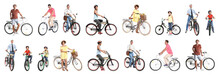 Collage Of People With Bicycles On White Background