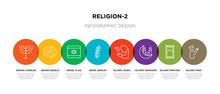 8 Colorful Religion-2 Outline Icons Set Such As Islamic Pray, Islamic Praying Carpet, Islamic Ramadan, Wudu, Israel Barley, Israel Flag, Jewish Bagels, Jewish Candles