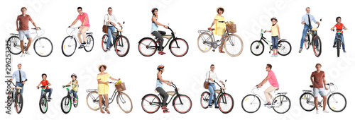 Collage of people with bicycles on white background Wallpaper Mural