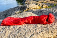 Woman Resting In Sleeping Bag ...