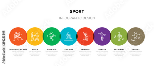 Fotografie, Obraz  8 colorful sport outline icons set such as kickball, kickboxing, kung fu, lacros