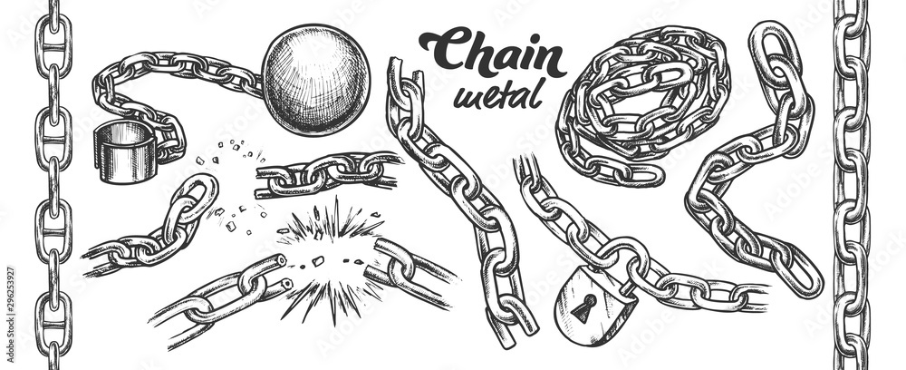 Fototapeta Iron Chain Monochrome Set Vector. Assortment Of Heavy Metallic Chain. Steel Tool With Ball And Padlock Engraving Concept Template Hand Drawn In Vintage Style Monochrome Illustrations
