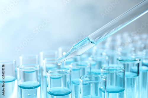 Fotografie, Tablou  Dropping sample into test tube with light blue liquid, closeup