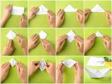 Woman Making Origami Boat Step By Step
