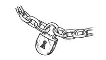 Steel Chain And Brass Padlock ...