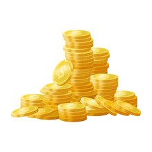 Golden Shiny Coins Pile, Stack...