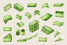Paper Cash Single And Stacked Vector Icons Set