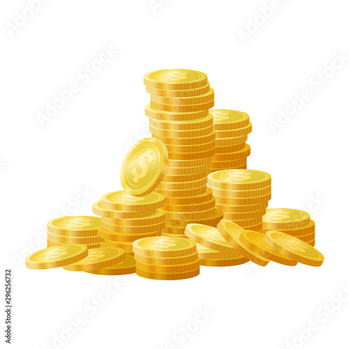 Fotografia Golden shiny coins pile, stack vector illustration