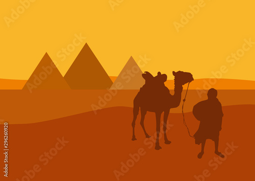 Camel and camel-driver in front of the pyramids in Egypt at sunset Canvas-taulu