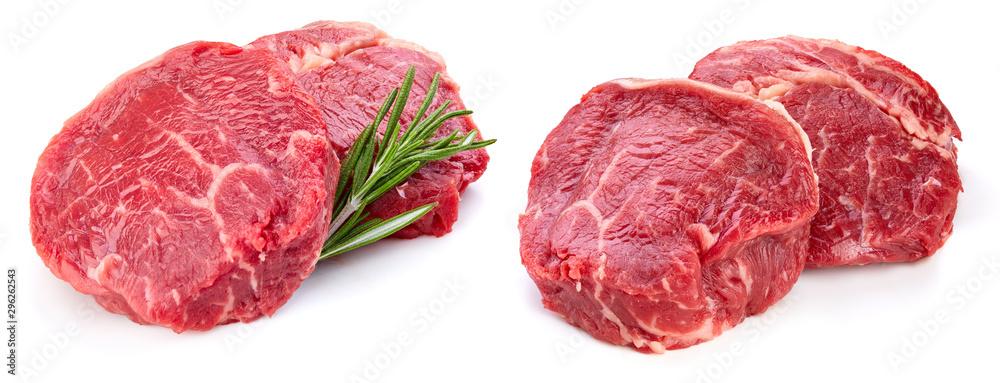 Fototapeta Fresh raw beef steak isolated on white background