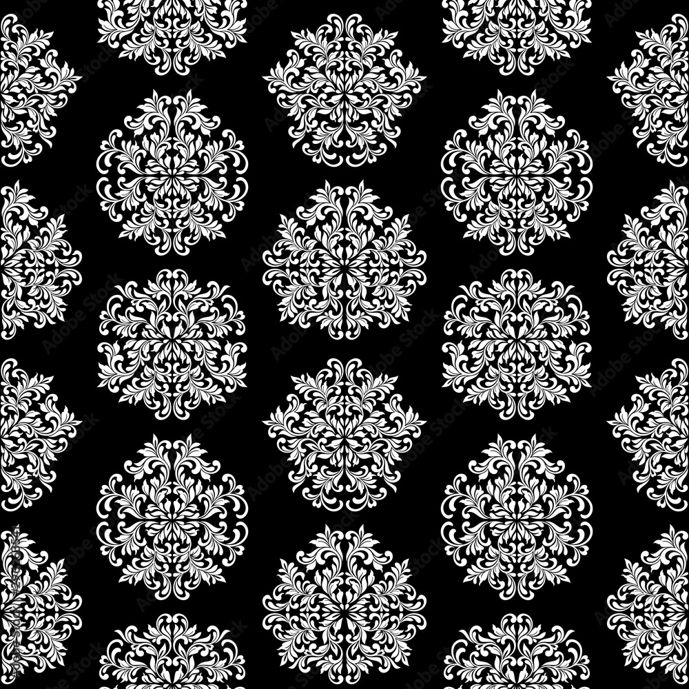 Luxury seamless pattern. Black wallpaper in vintage style. Background Damask. Texture for print, wallpaper, home decor, textile, package design