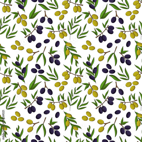 fototapeta na drzwi i meble Olives seamless pattern. Vector illustration for design, web and decor