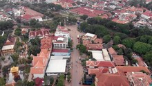 Aerial View Of A Street Heading In To Siem Reap