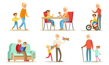 Grandpa And Grandma Spending Time With Their Grandchildren Set, Cute Boys And Girls With Their Grandparents Vector Illustration