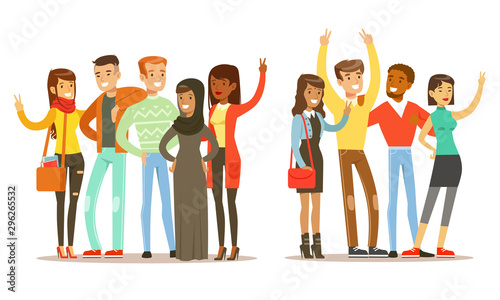 Happy People of Various Nationalities Showing Victory Sign Gestures Vector Illustration - 296265532