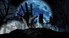 Spooky Graveyard With Zombie H...