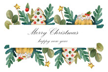 Watercolor Frame On A Christma...
