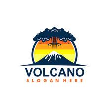 Volcano Mountain Logo. Simple Illustration Of Volcano Mountain Vector Logo