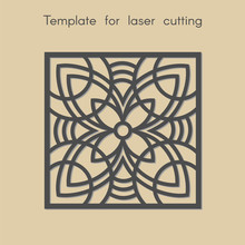 Template For Laser Cutting. Square Geometric Background With Flower For Cut. Stencil For Panels Of Wood, Metal, Plastic. Decorative Stand.