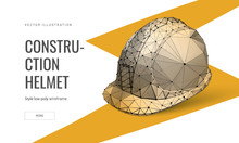 Construction Helmet Low Poly Landing Page Template. Labor Protection And Safety Web Banner. Hard Hat Polygonal Illustration. Metal Industry Product, Head Protection Item Art Homepage Design Layout