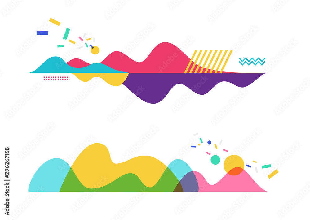 Fototapety, obrazy: Set of abstract background templates. Modern geometric vector illustration for website and banner background, presentation template, marketing and business material.