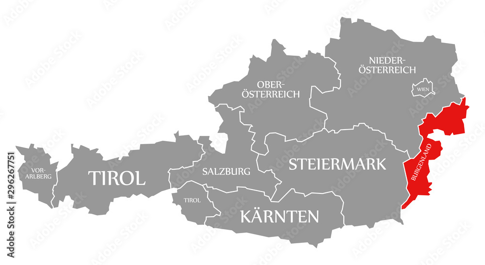 Fototapety, obrazy: Burgenland red highlighted in map of Austria