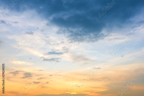 blue bright and orange yellow dramatic sunset sky in countryside texture background Fotobehang