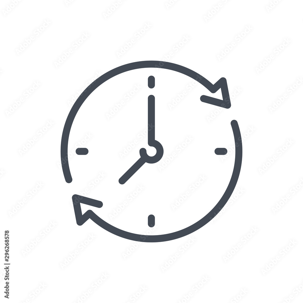 Fototapety, obrazy: Refresh time line icon. Update clock vector outline sign.