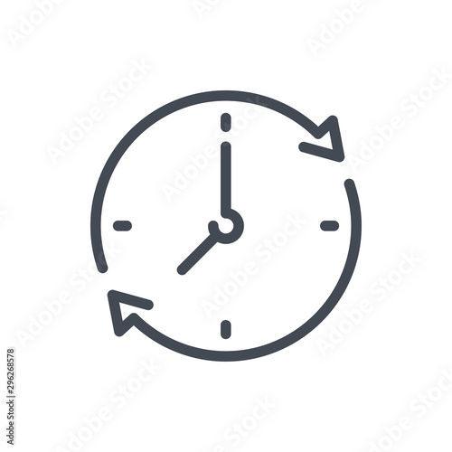 Fototapeta Refresh time line icon. Update clock vector outline sign. obraz