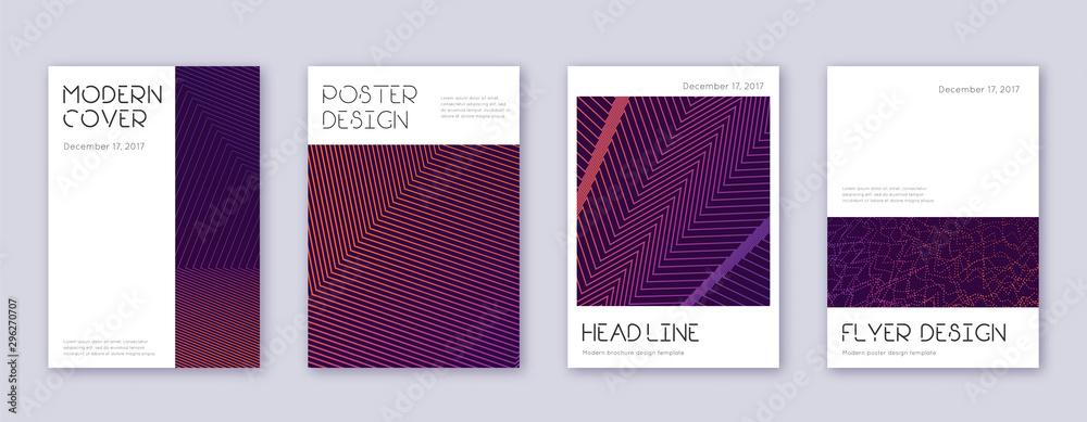 Fototapety, obrazy: Minimal brochure design template set. Violet abstr