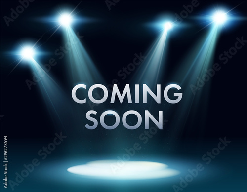 Coming soon stage illuminated with light spotlight Canvas Print