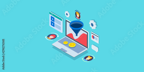 Photo 3d isometric design concept of conversion optimization, sales funnel strategy, customer analysis strategy, buyer persona development