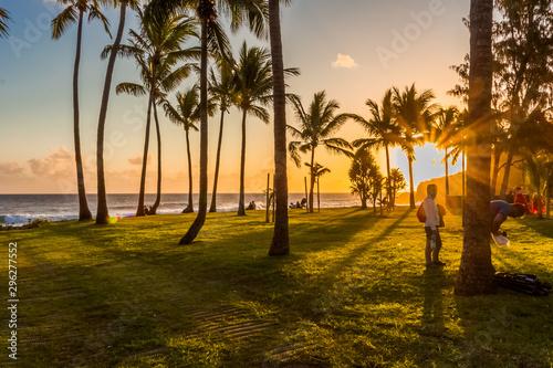 Poster Mer coucher du soleil sunset on beach, Grand'Anse, Réunion Island
