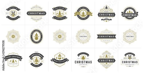 Fotografia  Christmas vector typography ornate labels and badges, happy new year and winter