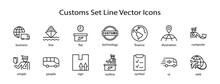 International Customs Day Set Line Vector Icons. Editable Stroke. 32x32 Pixel Perfect