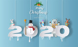 Fototapeta Fototapety na ścianę do pokoju dziecięcego - Merry Christmas and Happy New Year 2020 concept with snowman, reindeer, rabbit, bear and penguin, greeting and invitation card.