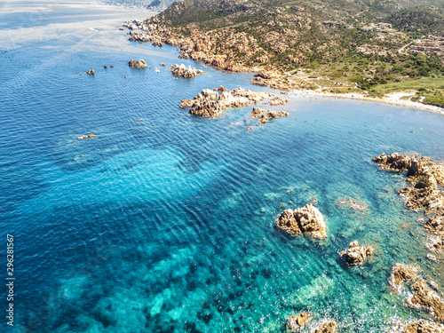 Montage in der Fensternische Blau türkis Sardinian coast and sea, aerial view