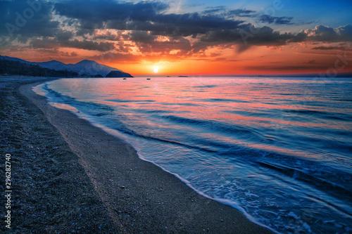 Poster de jardin Bleu nuit Sea or ocean bay at sunset