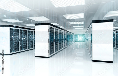 Connection network in servers data center room storage systems 3D rendering Canvas Print