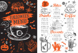 Fototapeta Londyn - Halloween menu. Restaurant cafe menu, template design. Food flyer.