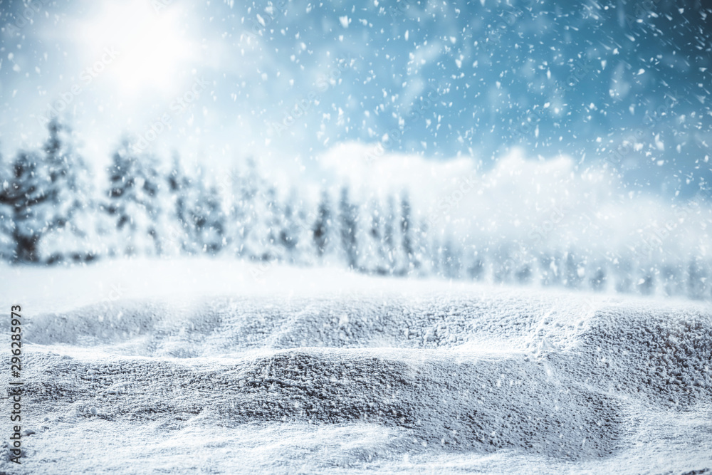 Fototapety, obrazy: Blurred snowy winter background with shimmering snow.
