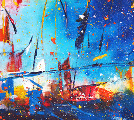 Watercolor painting colorful color abstract background on paper.